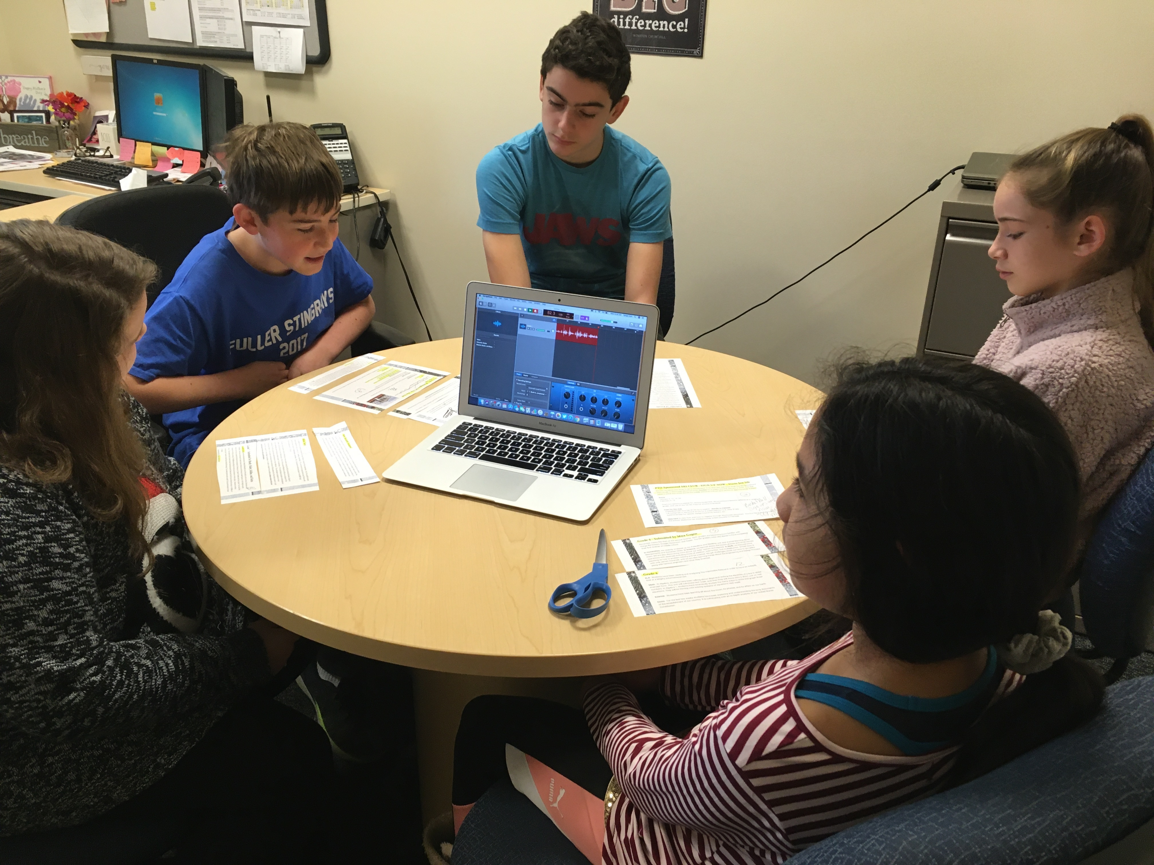 Students Creating Family Newsletter Podcast